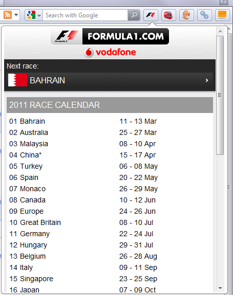 Formula 1 in Opera shows race calendar Screenshot