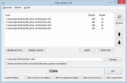 File Joiner 2.1.0 on Windows 8 with Spanish language