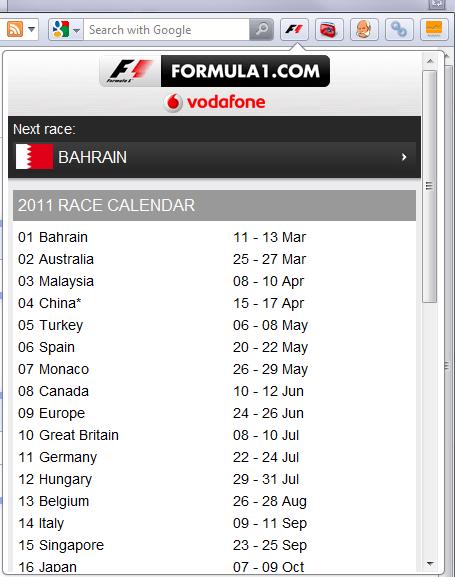 Formula 1 - Opera Extension