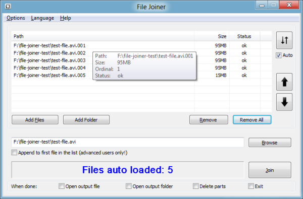 File Joiner auto loading files