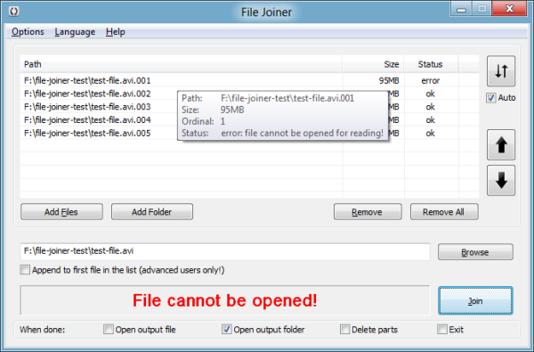 File Joiner shows error if file is no longer accessible