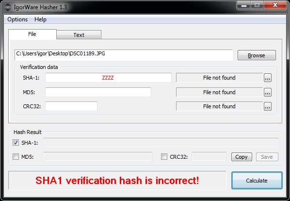 IgorWare Hasher marks invalid verification data with red color